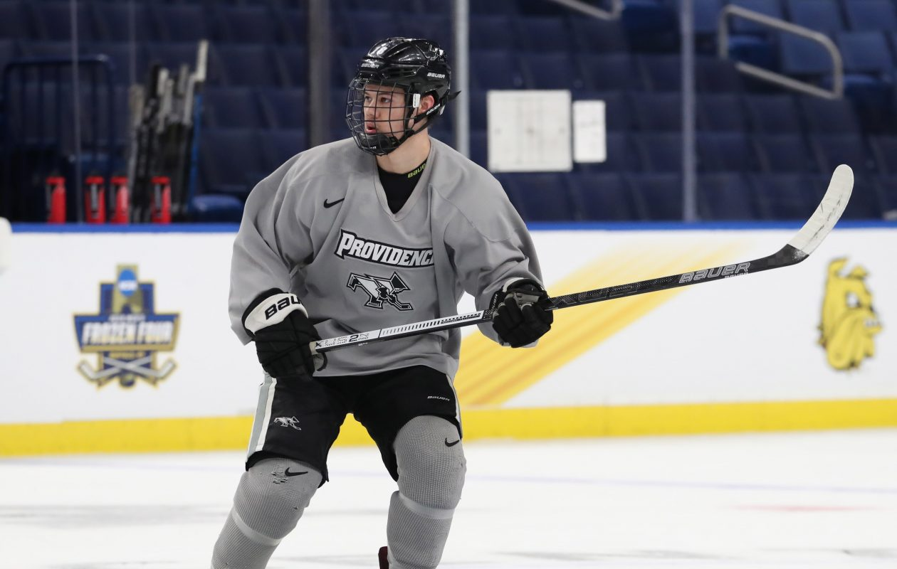 Jacob Bryson of Providence practices with his team at KeyBank Center in preparation for the NCAA Frozen Four.  (Sharon Cantillon/Buffalo News)