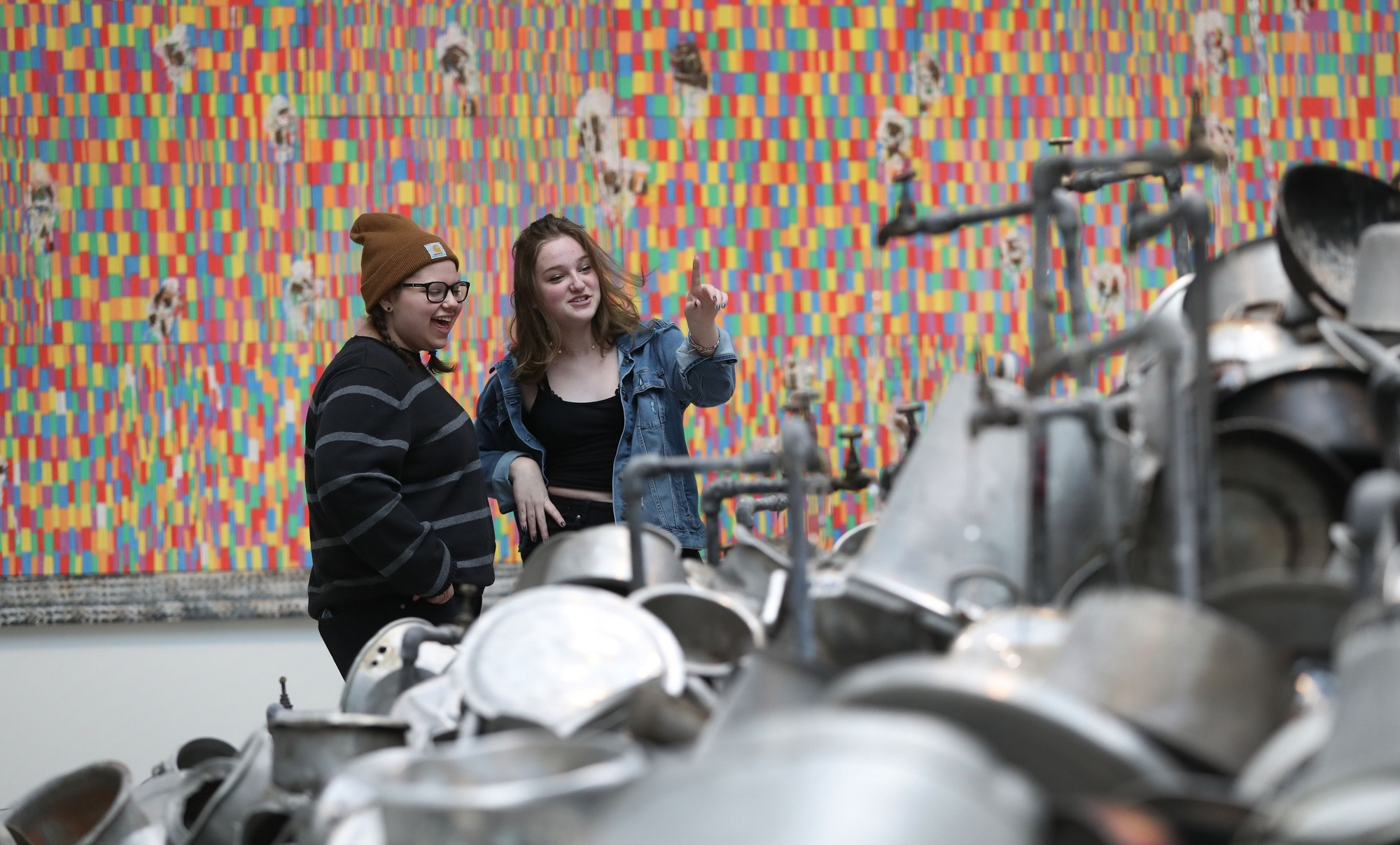 Author Jill Maxick of Williamsville, not pictured, takes her daughter London Deckert, 15, left, and her friend Emilia Lis, 15, to the Albright-Knox Art Gallery as part of an Art in the City excursion. (Sharon Cantillon/Buffalo News)