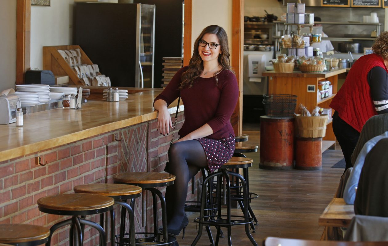 Kristen Smigielski, a vocalist who sings a diverse range of music, was photographed for Fashion Friday at Elm Street Bakery in East Aurora.  (Robert Kirkham/Buffalo News)