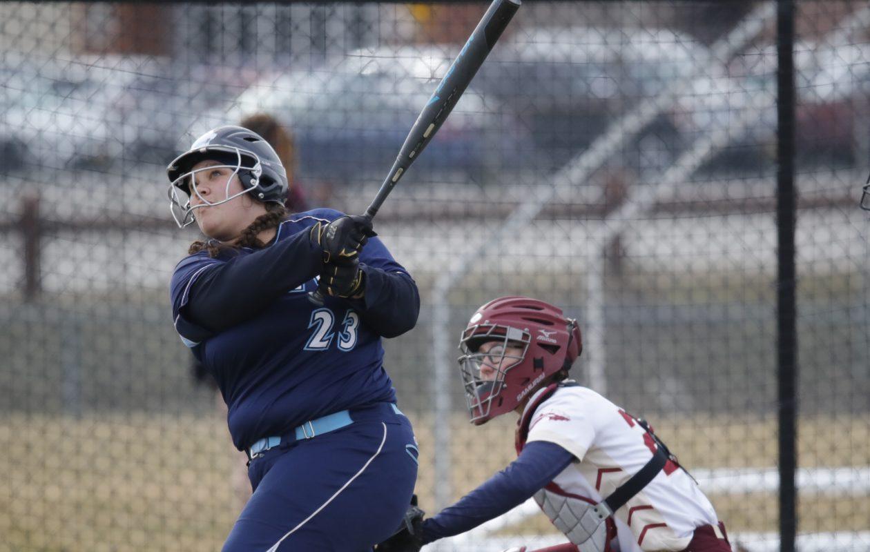 Depew batter Anne DiPirro hits a two-run double against Cheektowaga Thursday (Harry Scull Jr./Buffalo News)