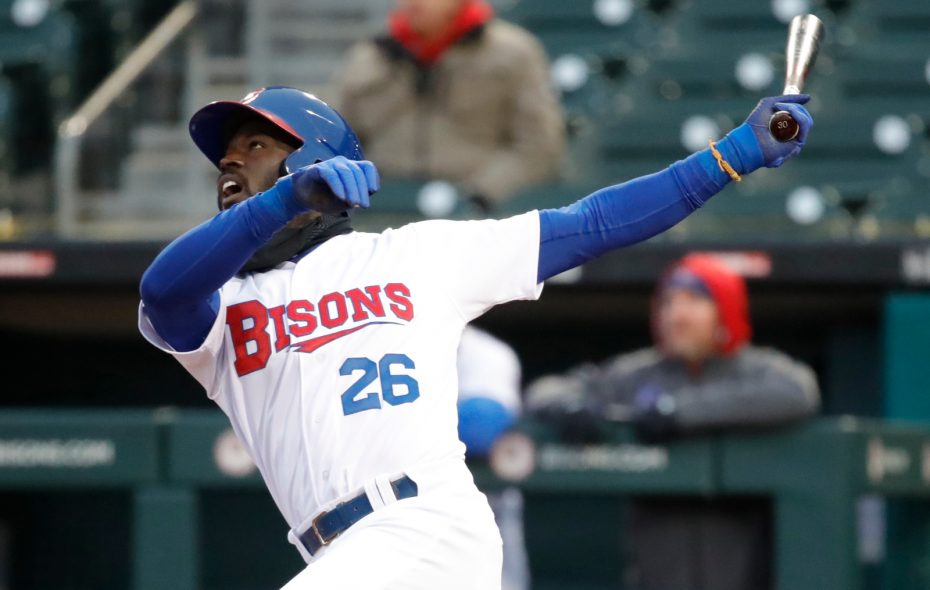 Buffalo Bisons batter Anthony Alford started a six-run rally with a single on Sunday against Norfolk. (Buffalo News file)