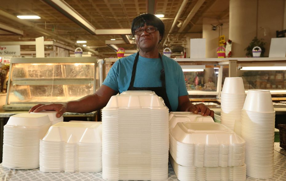 Margie Hawkins, owner of Margie's Soul Food at the Broadway Market, opposes a ban on styrofoam. (Sharon Cantillon/Buffalo News)