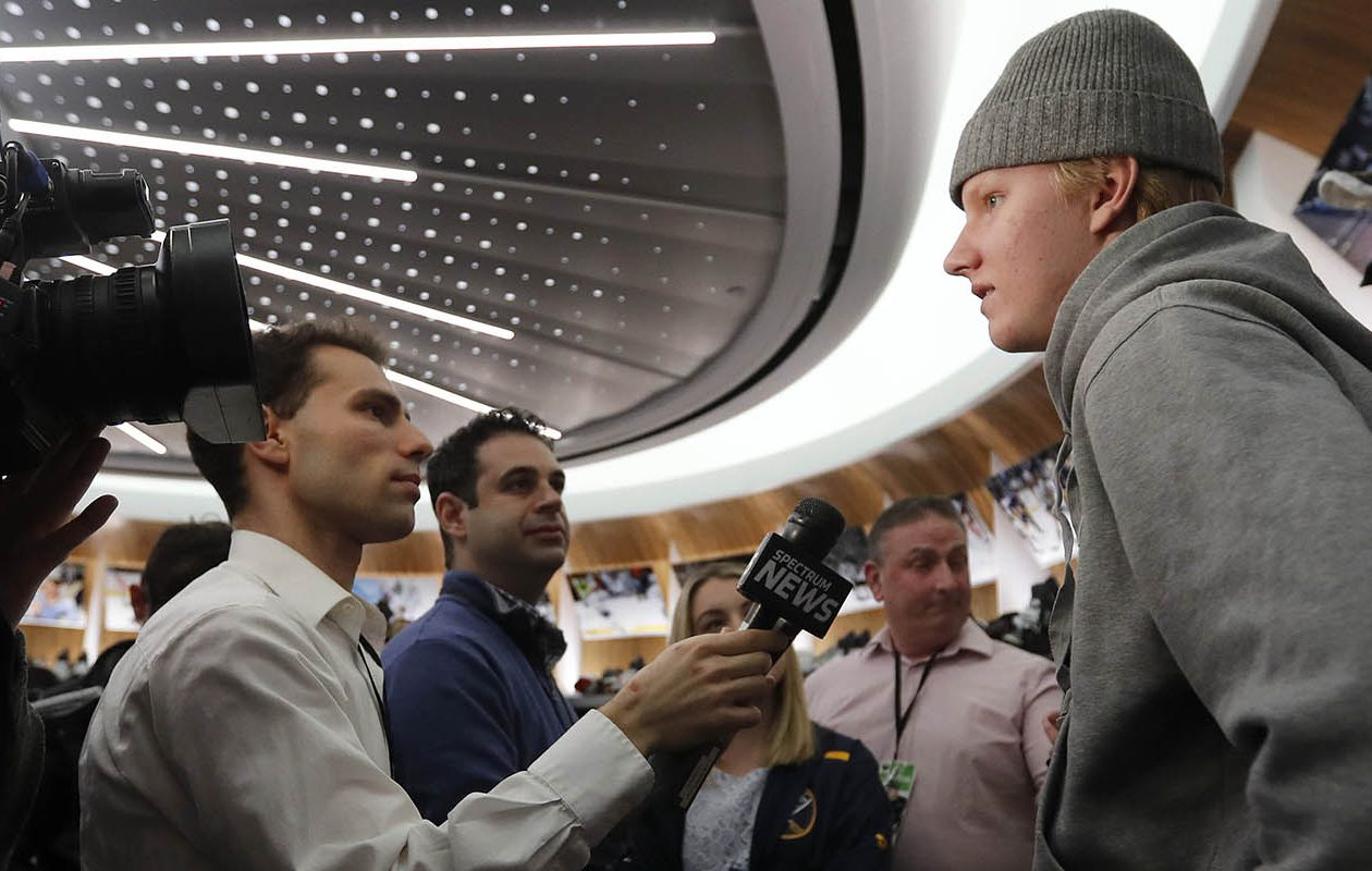 Sabres defenseman Rasmus Dahlin, shown here during locker cleanout day, played in all 82 games as a rookie. (Mark Mulville/News file photo)