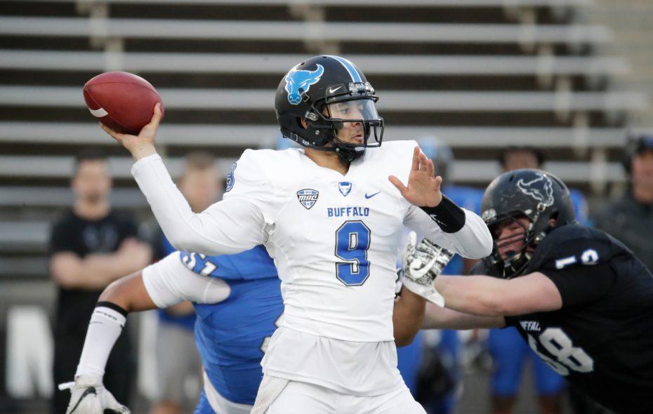 Buffalo quarterback Dominic Johnson throws during the UB football spring game at UB Stadium on Friday, April 12, 2019. (Harry Scull Jr./Buffalo News)