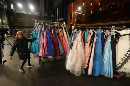 Colvin Cleaners presents the 14th annual Gowns for Prom, which provides used prom dresses for free to young women in need. The gowns were delivered by Colvin Cleaners trucks on Monday, April 15, 2019. The gowns will be distributed at Shea's Buffalo from Tuesday to Thursday.