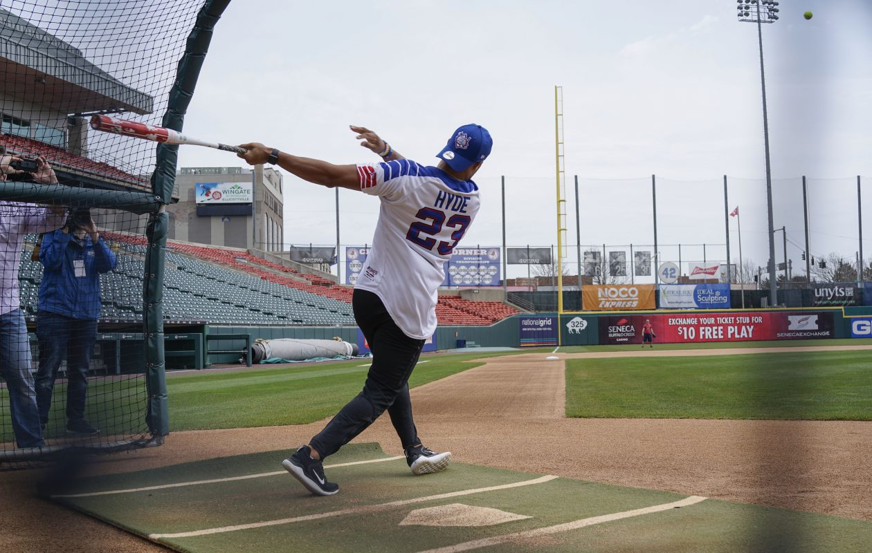 Buffalo Bills safety Micah Hyde takes some batting practice at Sahlen Field as he and some of his teammates prepare for the Micah Hyde Charity Softball Game to benefit Hyde's IMagINe for Youth Foundation, Thursday, April 18, 2019. (Derek Gee/Buffalo News)