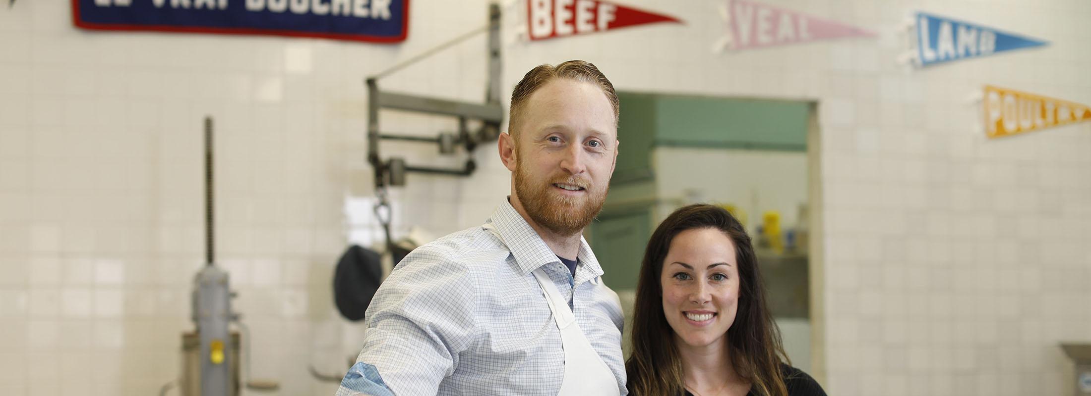 Thomas and Caitlin Moriarty run Moriarty Meats on Grant Street. (Derek Gee/Buffalo News)