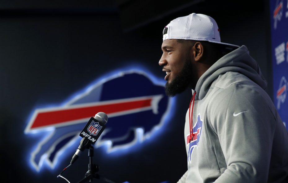 Buffalo Bills first round draft pick Ed Oliver speaks with the media. (Mark Mulville/Buffalo News)