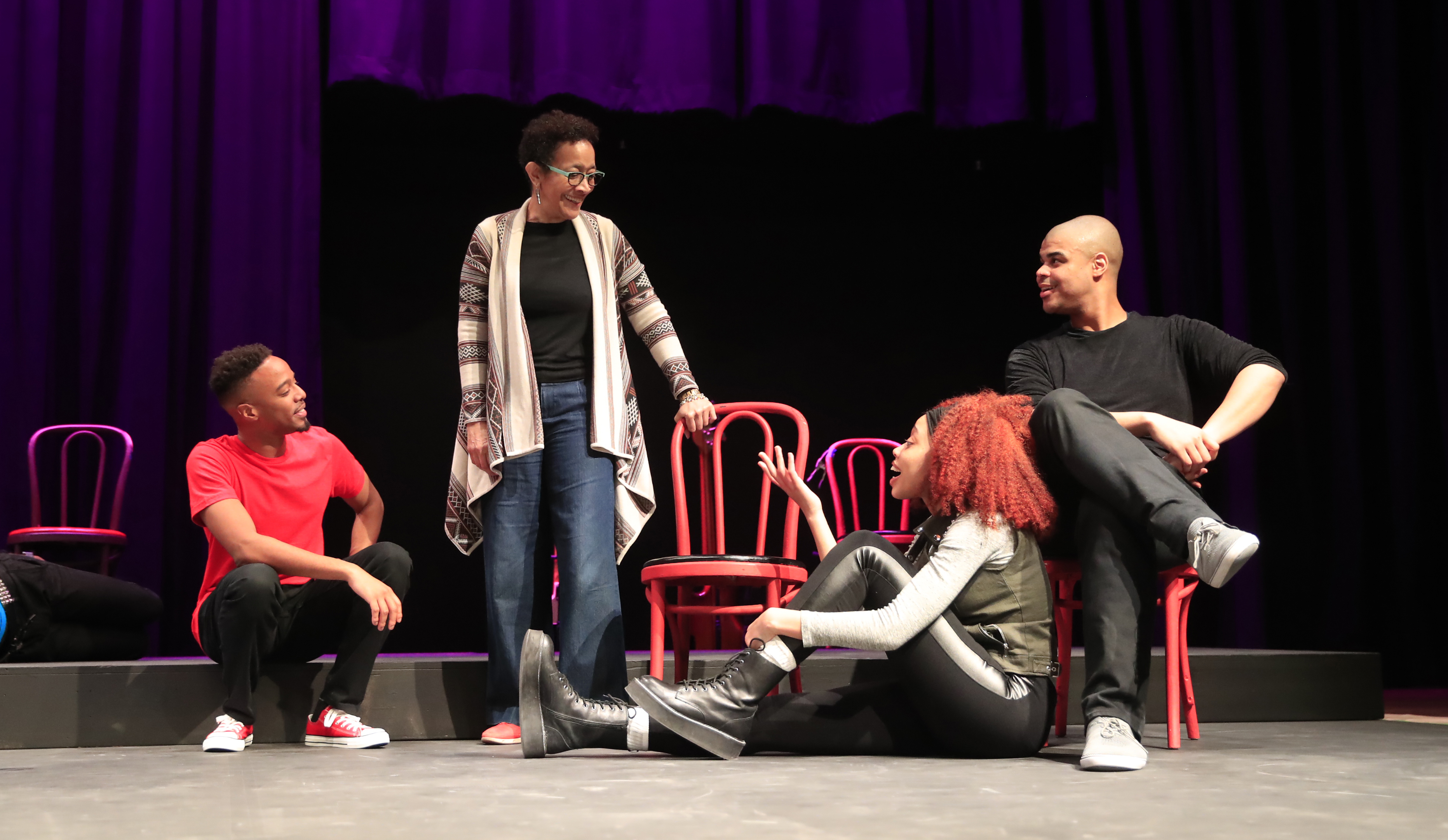 Ujima Theatre founder and artistic director Lorna C. Hill talks with actors during a rehearsal of 'Passing Strange,' the first production in the company's new home.  (Harry Scull Jr./Buffalo News)