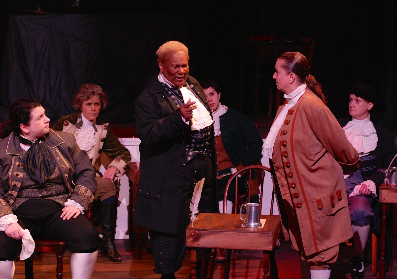 O'Connell & Company  presents an all-female version of '1776' with great success. It stars, from left, Sara Kovacsi,  Priscilla Young, Mary Craig, Marissa Biondolillo, Pamela Rose Mangus and Mary Moebius.