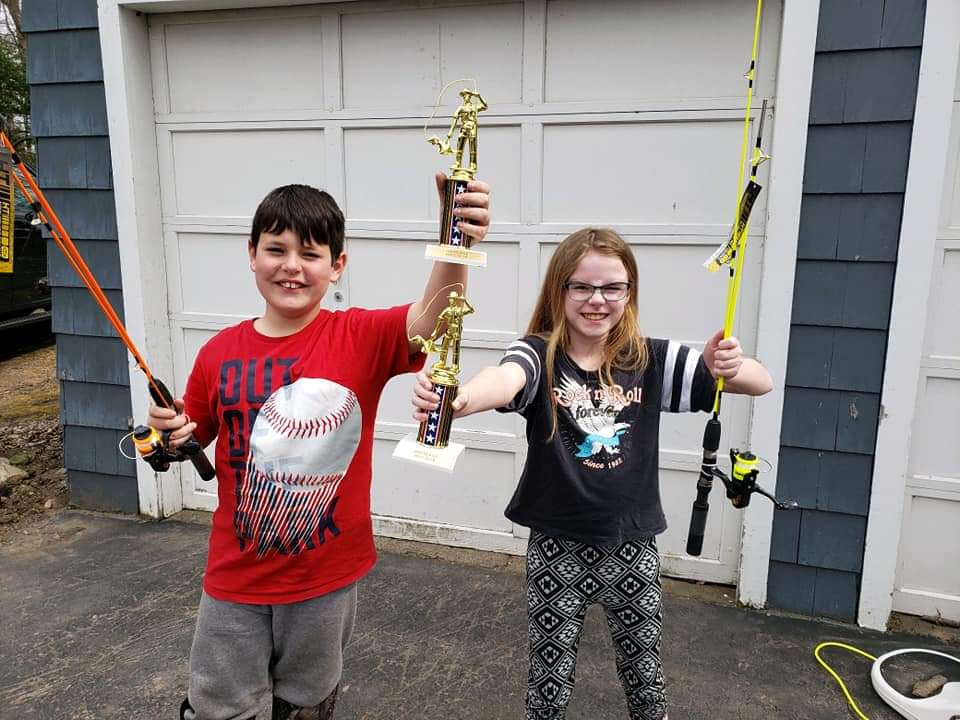 Jace Greene of Newfane and Olivia Lampman of Newfane placed first and second, respectively, in the youth division of the Wilson bullhead contest. Jace weighed in two fish weighing 3.55 pounds and Olivia's two fish totaled 3.33 pounds. (Courtesy photo)