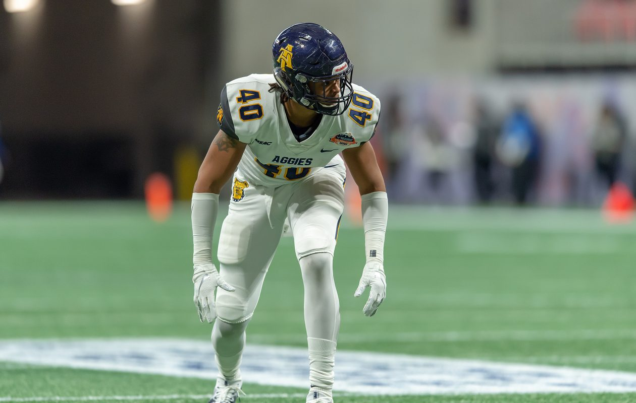 North Carolina A&T defensive end/outside linebacker Darryl Johnson Jr. was named the MEAC Defensive Player of the Year after recording 50 tackles, including 18.5 for loss, and 10.5 sacks in 12 games last season. (Photo by  Kevin L. Dorsey/N.C. A&T)