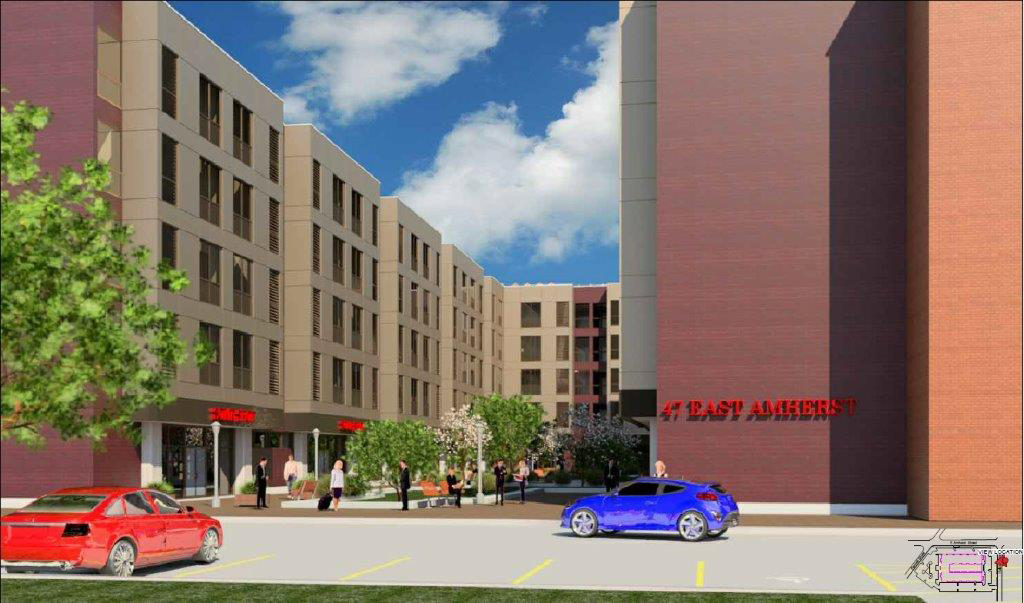 Hormoz Mansouri is proposing this five-story building with 178 apartments and one floor of commercial and retail space, at 47 East Amherst St. (Courtesy of EI Team and Buffalo Zoning Board of Appeals)
