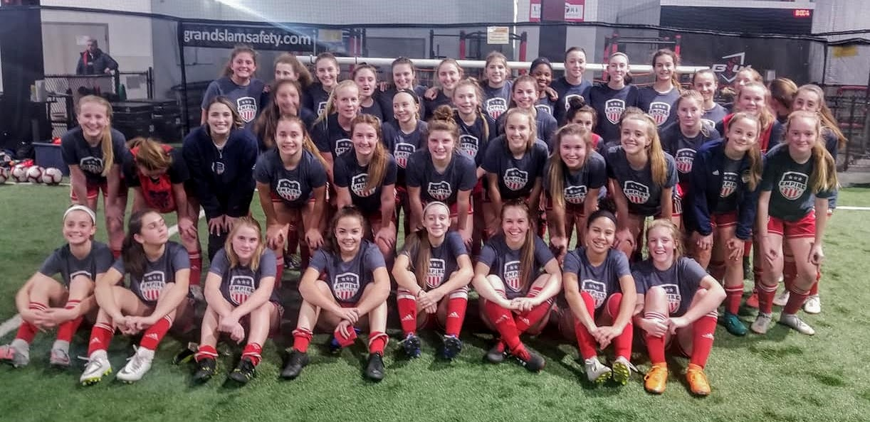 Two of the three Empire United Girls Development Academy teams early in the 2019 season. (via Empire United)
