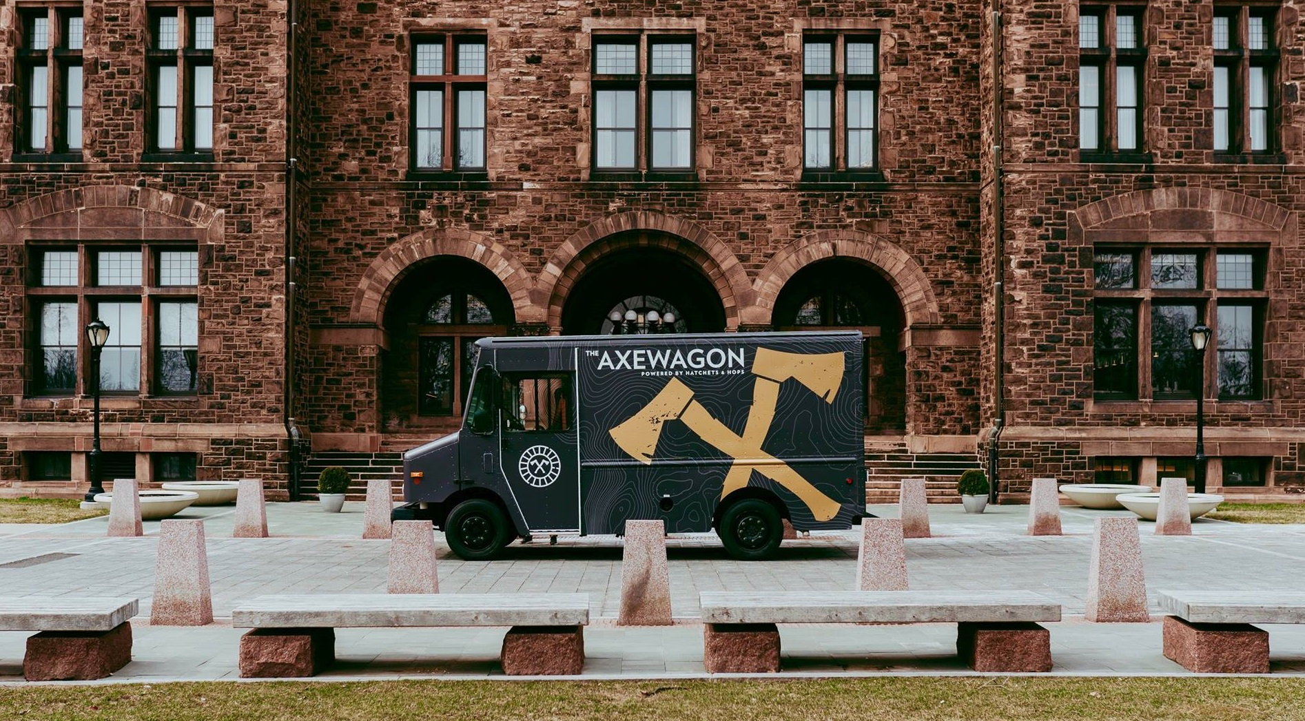 The AxeWagon, pictured in front of Hotel Henry, will bring the allure of Hatchets & Hops to festivals and private events. (via AxeWagon)