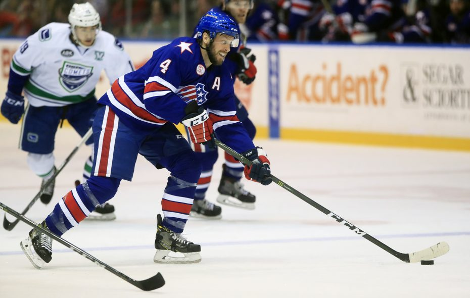 Veteran defenseman Nathan Paetsch has spent most of this season mentoring younger Amerks players. (Harry Scull Jr./News file photo)