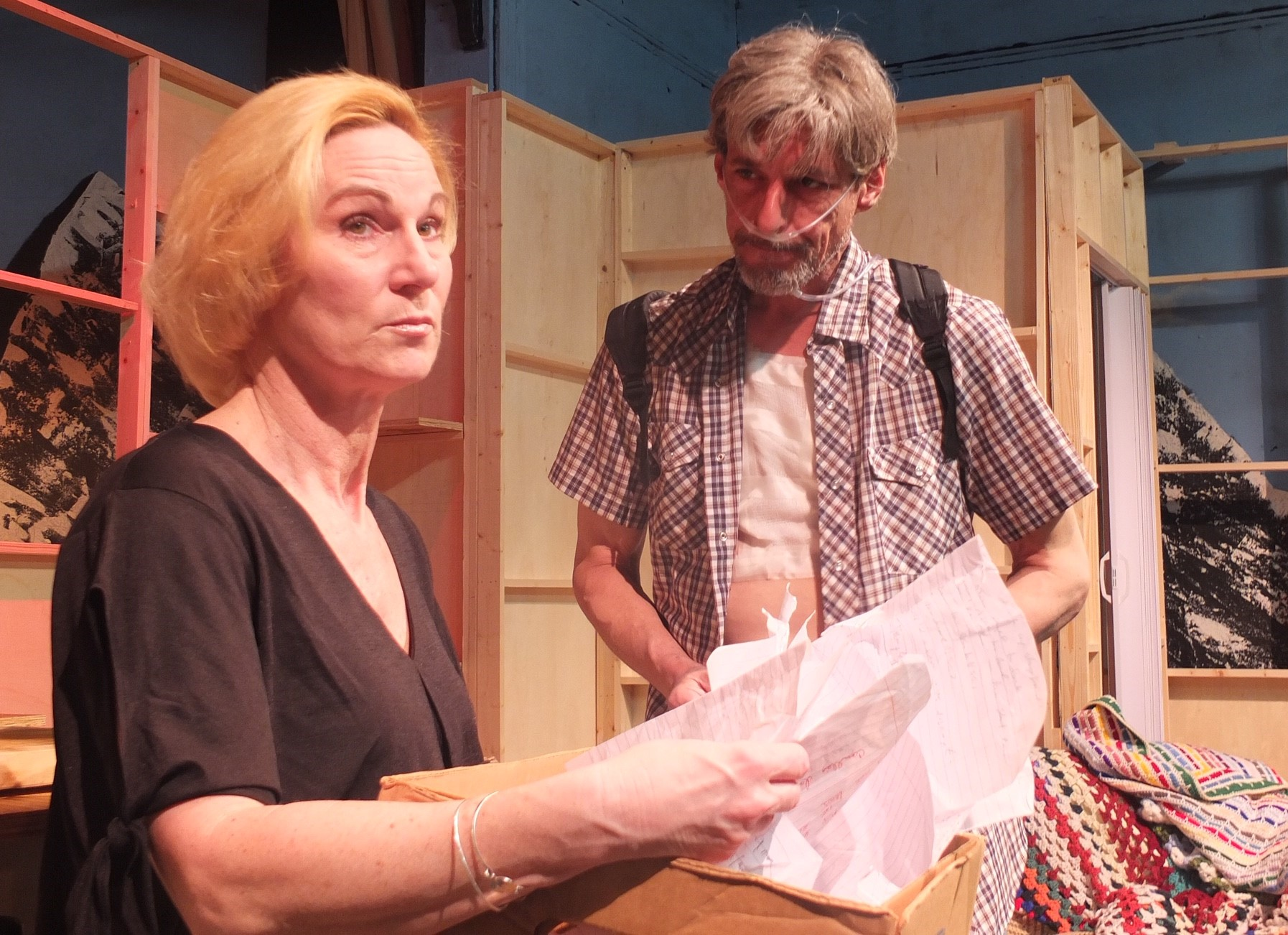 Lisa Ludwig and John Profeta take on the meaty roles of a divorced couple brought together by a crisis in 'Annapurna' at New Phoenix Theatre. (Photo by Lawrence Roswell)