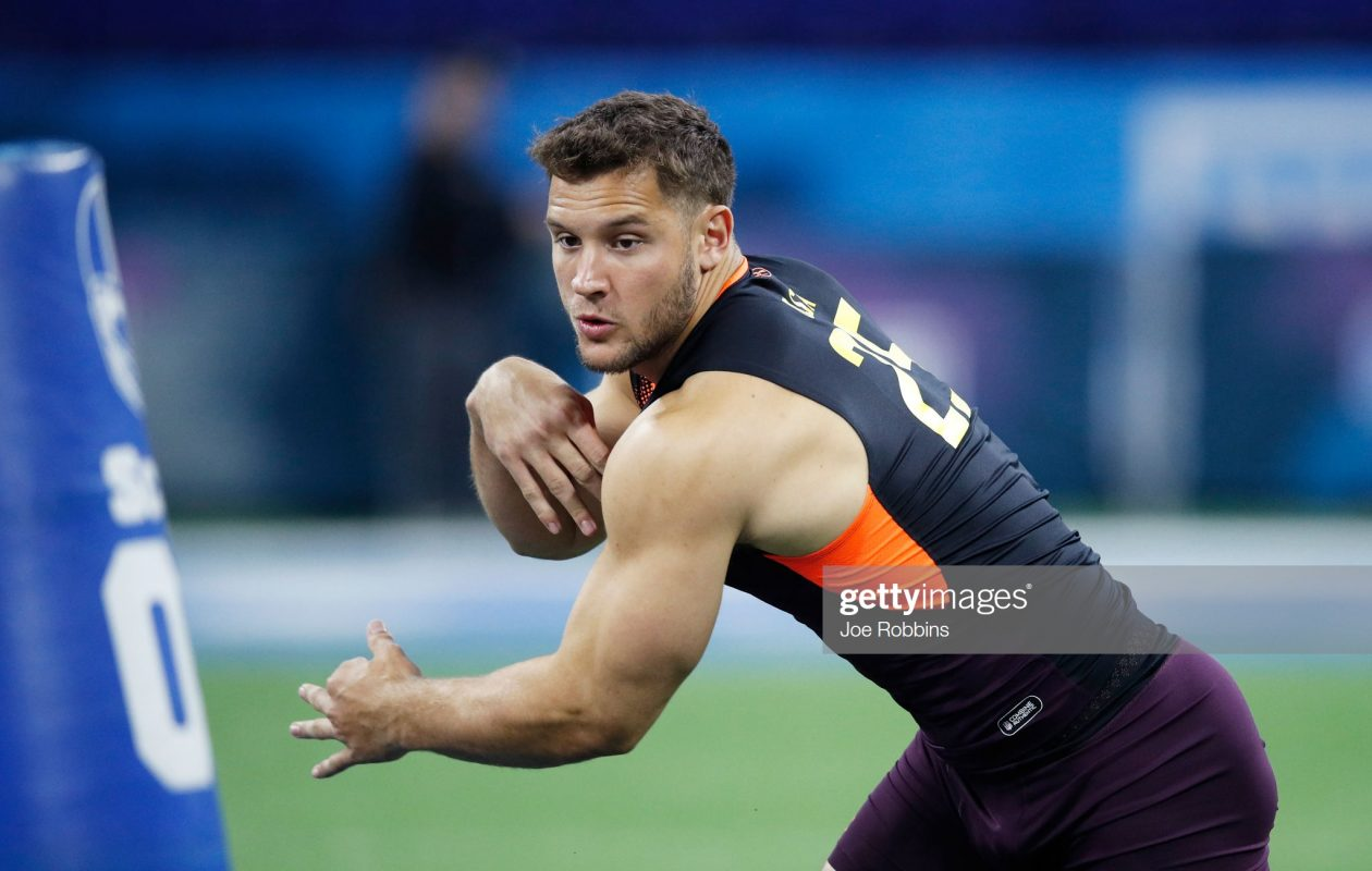 Ohio State defensive end Nick Bosa figures to be a top-five pick in the NFL draft later this month. (Getty Images)