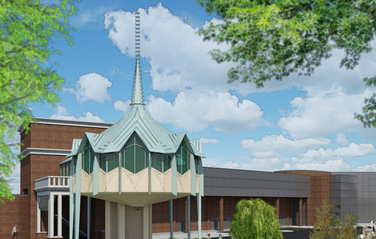 A rendering of the proposed Frank Lloyd Wright-designed chapel, incorporated into the Buffalo Grand Hotel. (Image courtesy of Lauer-Manguso Associates)