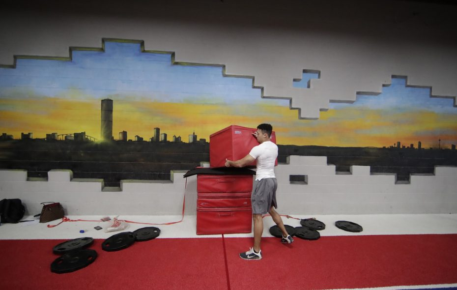 Chris Spell will have to find a new way to break the Guinness World Record box jump. Guinness officials told him his landing surface was too soft. (Harry Scull Jr./Buffalo News)