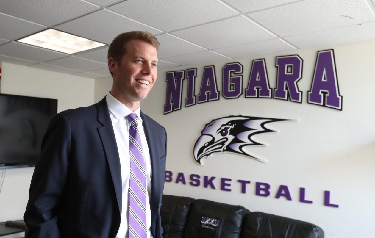 Patrick Beilein is introduced as the 22nd head coach of the Niagara Purple Eagles.  (James P. McCoy/Buffalo News)