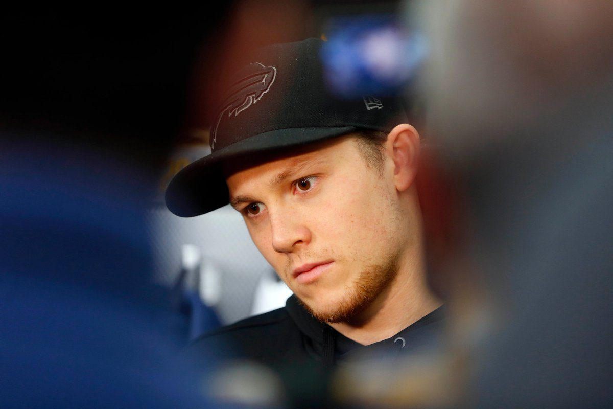Jeff Skinner listens to a question during locker cleanout Monday in KeyBank Center. (Mark Mulville/Buffalo News)