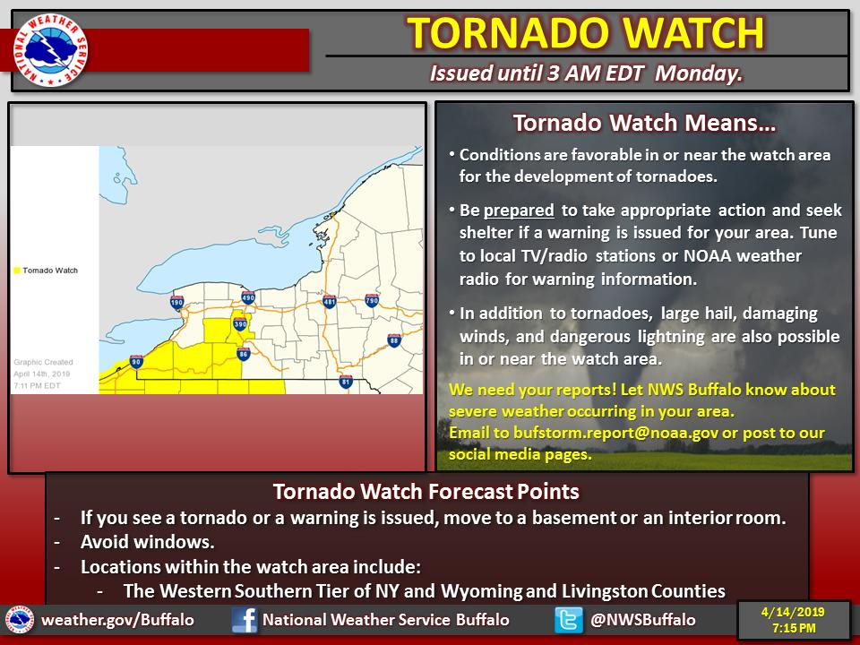 A tornado watch was issued for parts of Western New York on Sunday night. (Image via National Weather Service)
