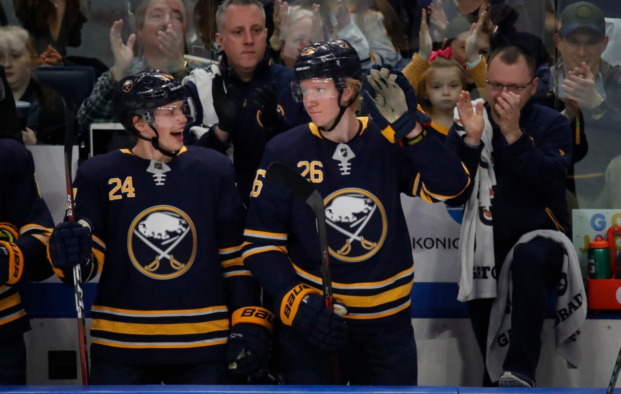 Rasmus Dahlin, shown accepting plaudits from the KeyBank Center crowd during the Sabres' season finale, is heading to Las Vegas for the NHL Awards Show. (Harry Scull Jr./News file photo)