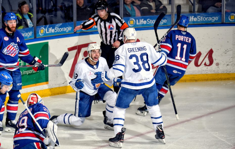 Nick Baptiste scores in Game 1 for the Toronto Marlies against the Amerks. (Micheline Veluvolu/Rochester Americans)