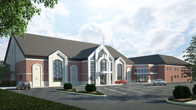Rendering of First Calvary Missionary Baptist Church. (Courtesy of the church)