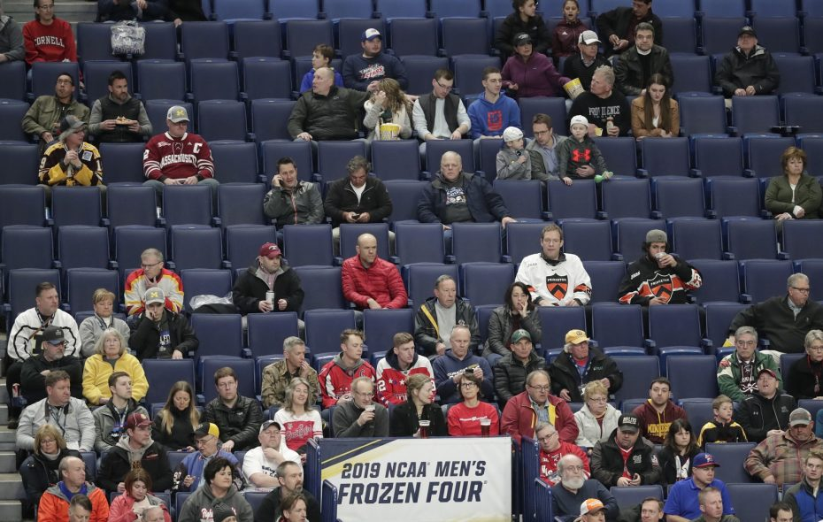 Pleanty of empty seats as Providence and Minnesota-Duluth play during the first period of a Frozen Four semifinal game at KeyBank Center on April 11.  (Harry Scull Jr./Buffalo News)