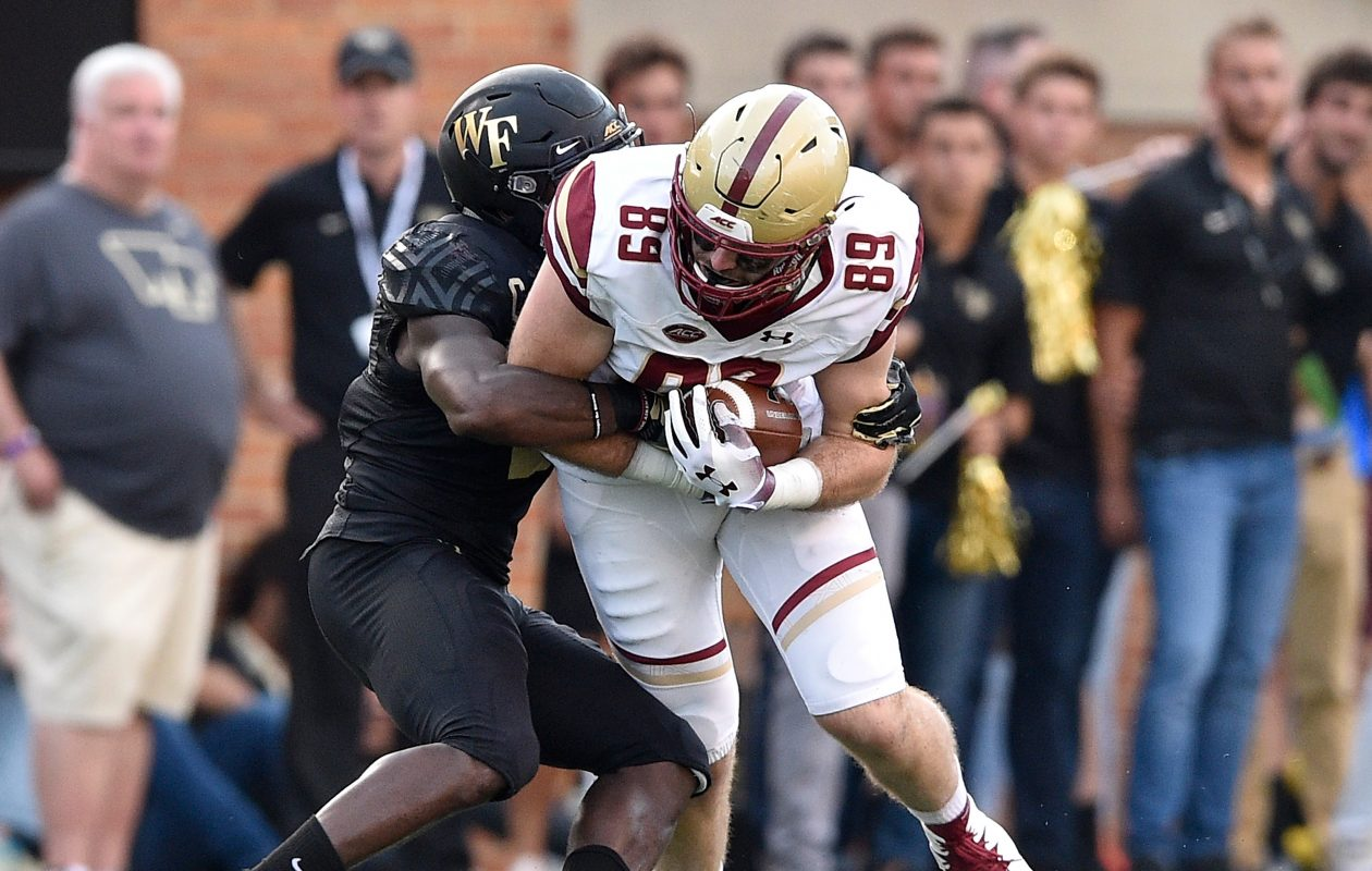 Boston College tight end Tommy Sweeney, right (Grant Halverson/Getty Images)
