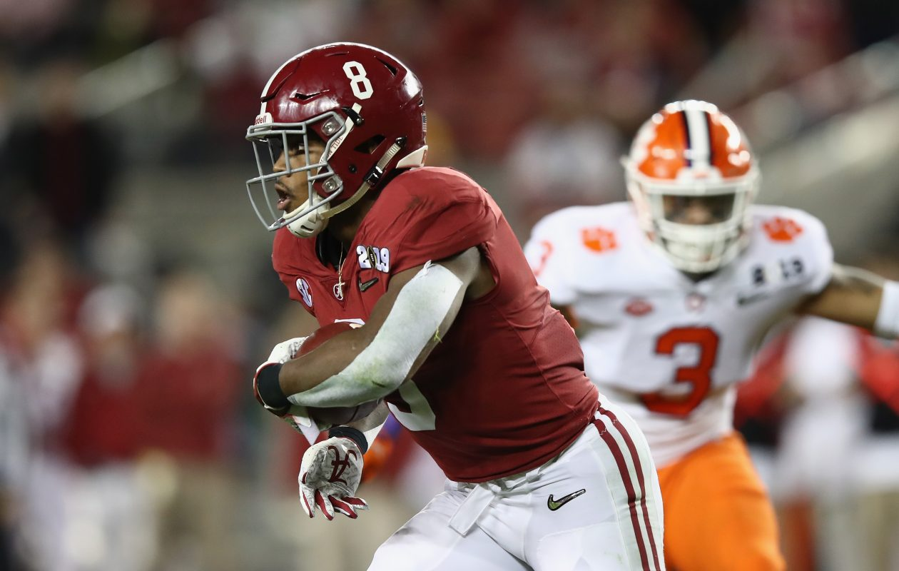 Josh Jacobs of Alabama carries against Clemson in the National Championship Game on Jan. 7, 2019. (Getty Images)