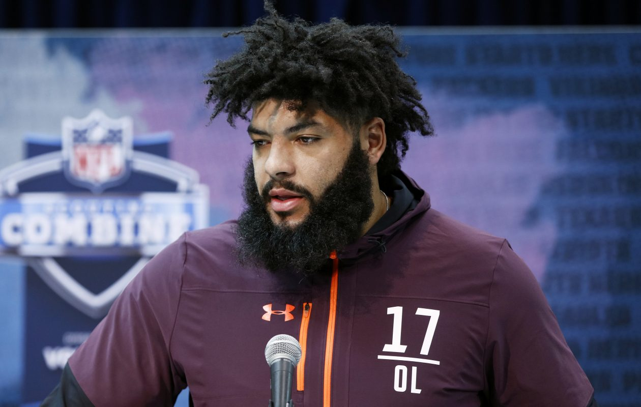 Offensive lineman Cody Ford of Oklahoma speaks to the media during day one of interviews at the NFL Combine at Lucas Oil Stadium on February 28, 2019 in Indianapolis, Ind. (Joe Robbins/Getty Images)