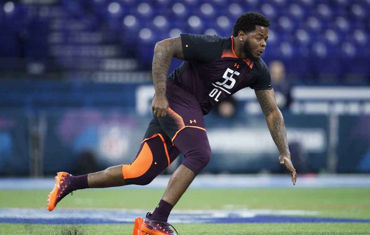 Jawaan Taylor of Florida works out during the NFL combine at Lucas Oil Stadium in Indianapolis, Ind. (Getty Images)