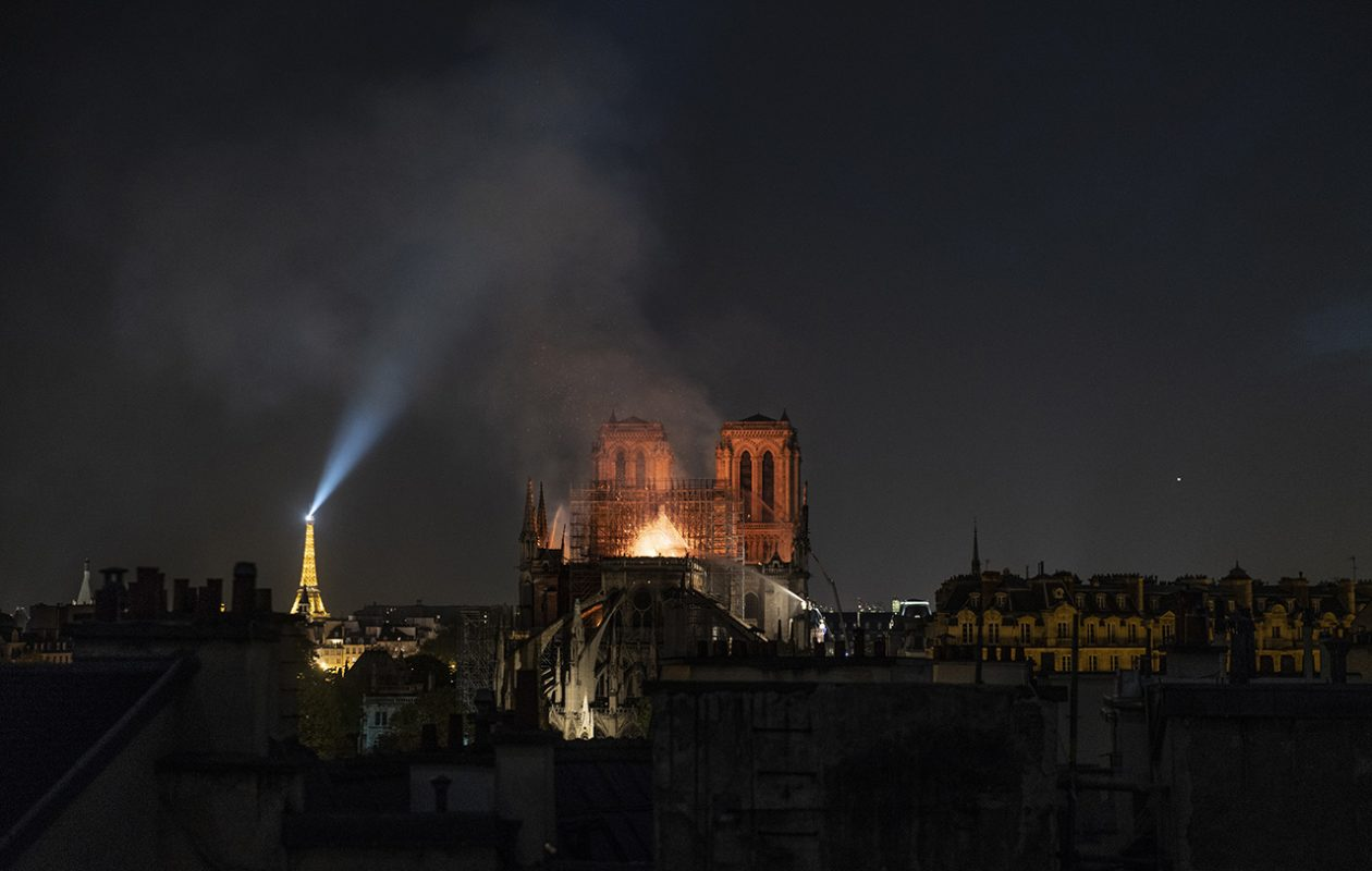 Smoke and flames rise from Notre Dame Cathedral on April 15, 2019, in Paris. (Getty Images)