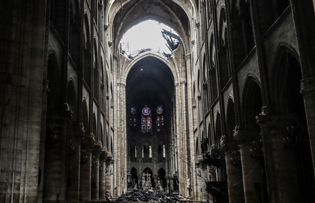 Officials are still assessing the extent of the damage to Notre Dame Cathedral in Paris after Monday's devastating fire. The blaze roared through the roof, toppling the spire and leaving holes in the soaring cathedral's vaulted ceiling. Investigators believe work related to renovation may have sparked the blaze.
