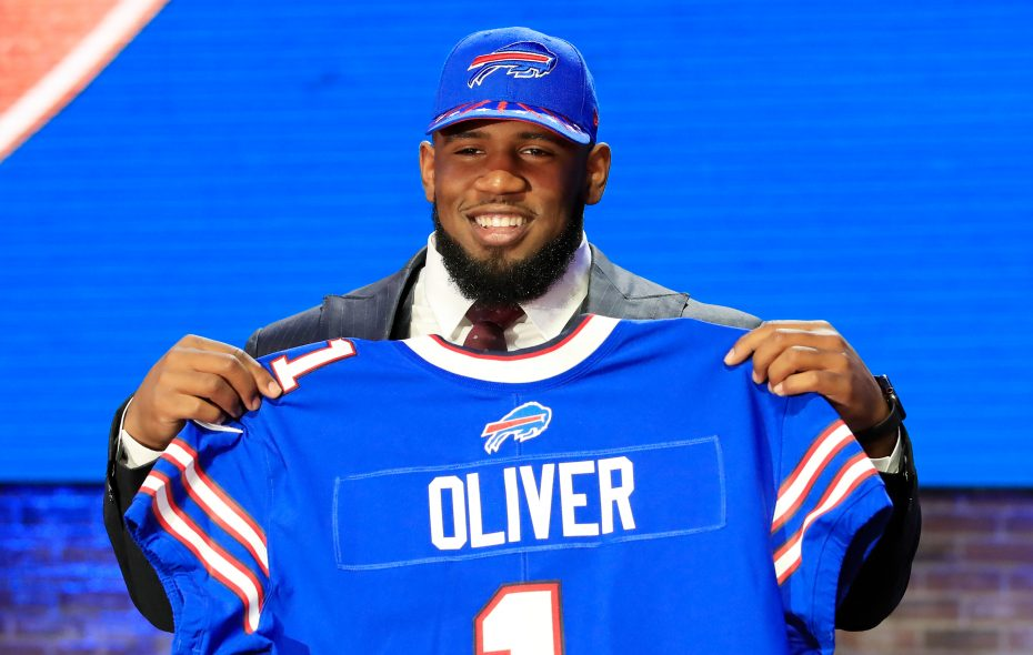 Ed Oliver of Houston reacts after being chosen No. 9 overall by the Buffalo Bills during the first round of the 2019 NFL Draft on April 25, 2019, in Nashville. (Andy Lyons/Getty Images)