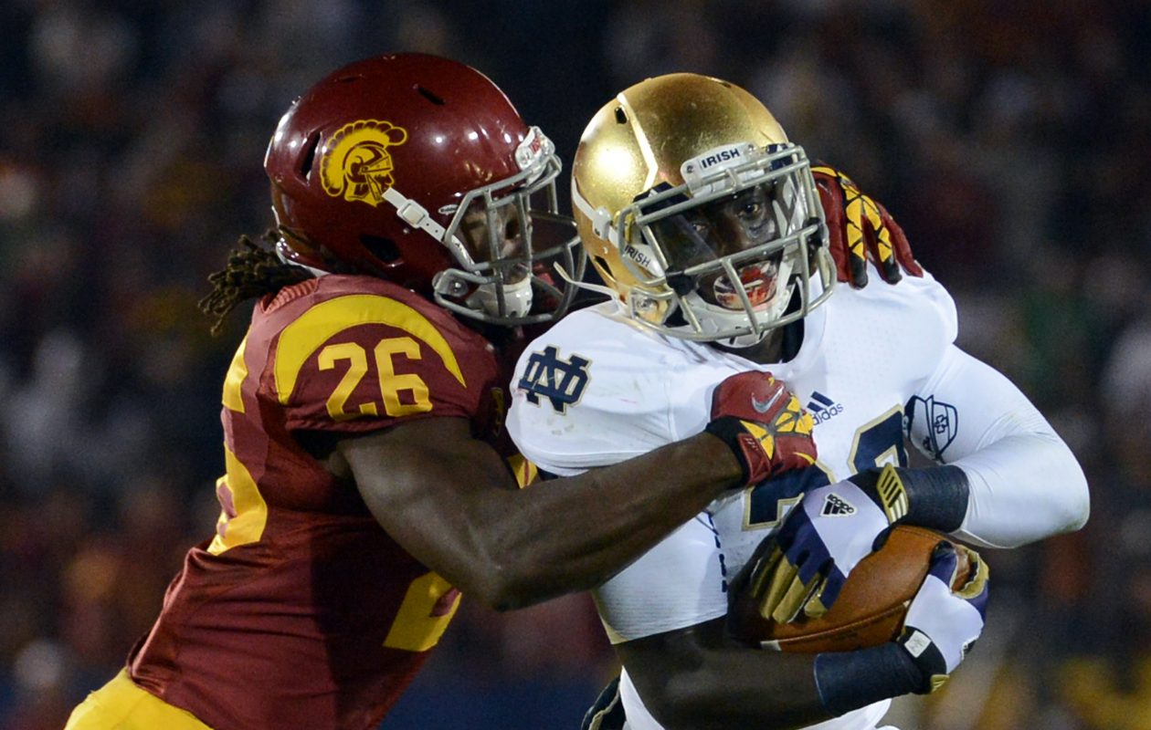 Cierre Wood was a star running back at Notre Dame.  (Harry How/Getty Images)
