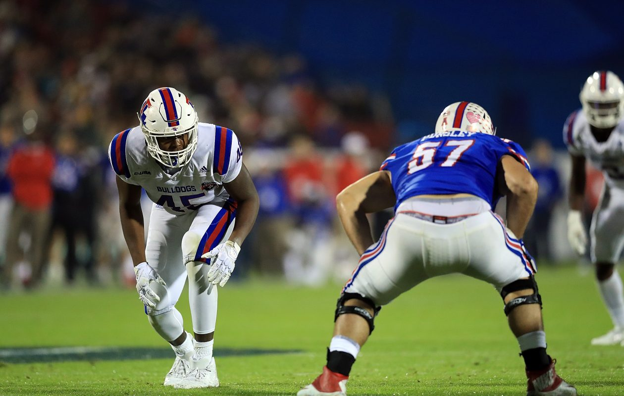 Louisiana Tech defensive end Jaylon Ferguson (45) had 45 sacks during his college career. (Getty Images)