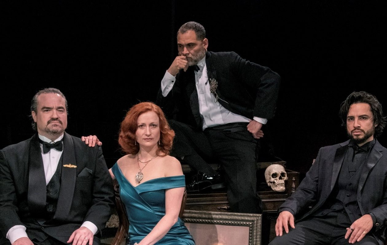 From left: Matt Witten as Claudius, Kristen Tripp Kelley as Gertrude, Rolando Martin Gomez as the Ghost and Anthony Alcocer as Hamlet in Irish Classic Theatre Company's 'Hamlet.' (Gene Witkowski/Special to Then News)