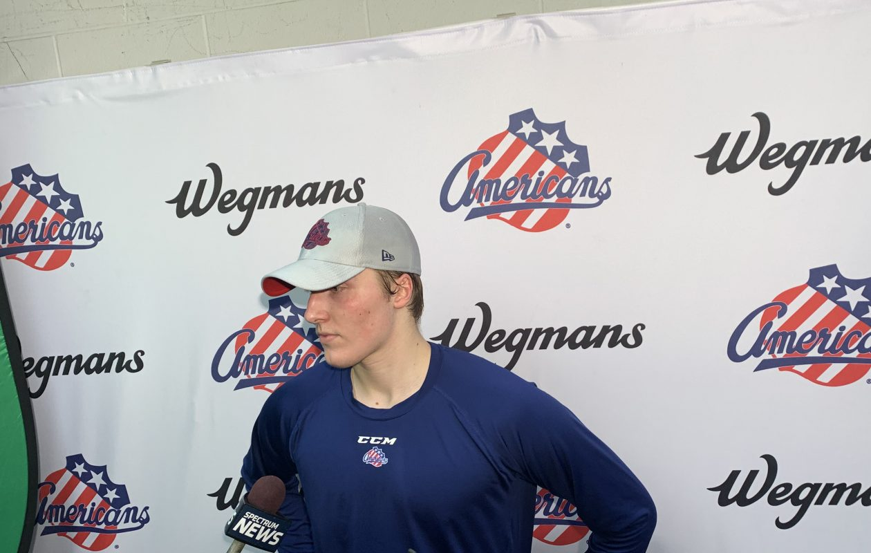 Ukko-Pekka Luukkonen speaks to reporters at Blue Cross Arena following the Amerks' practice Wednesday morning. (Lance Lysowski/Buffalo News)
