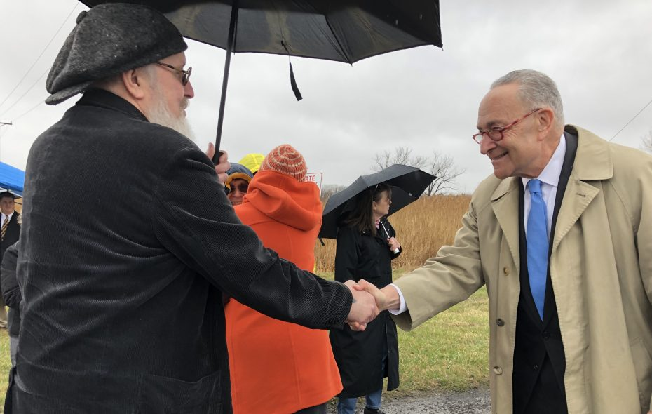 Sen. Chuck Schumer meets with community activists at the Niagara Falls Storage Site in Lewiston on Monday morning. (T.J. Pignataro/Buffalo News)