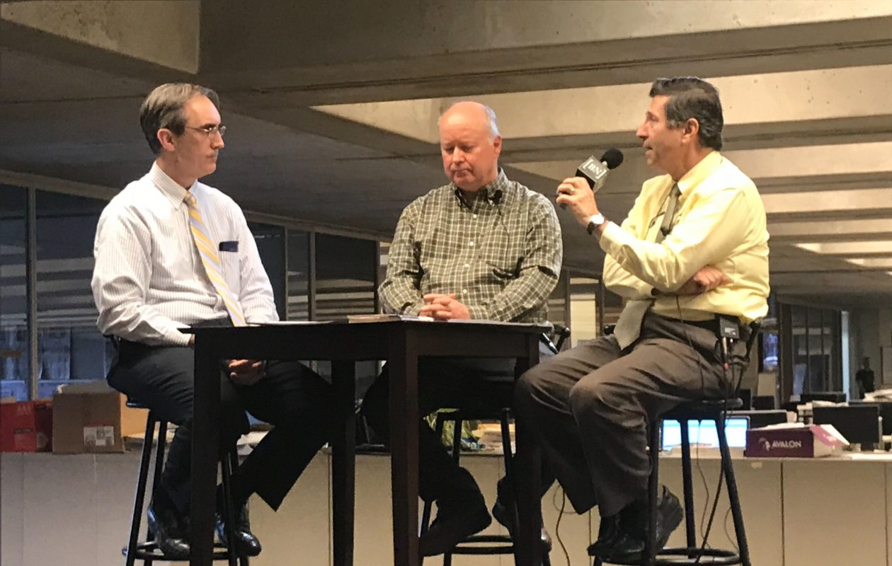 From left to right: Bruce Andriatch, Dan Herbeck and Lou Michel. (Qina Liu/Buffalo News)