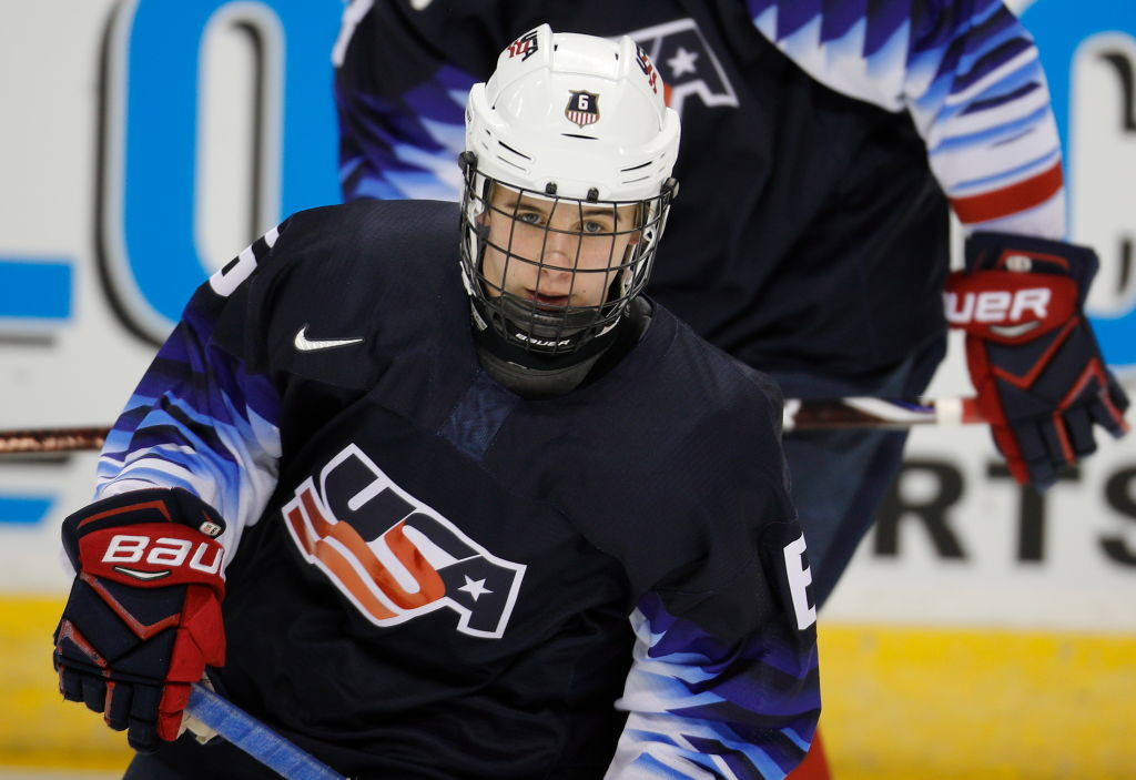 Presumptive No. 1 draft pick Jack Hughes played for Team USA at the World Junior Championships in Vancouver (Getty Images).