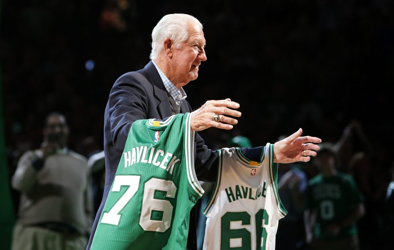 f2e85f8faa15 Member of the Boston Celtics 1966 and 1976 Championship teams John Havlicek  is honored at halftime