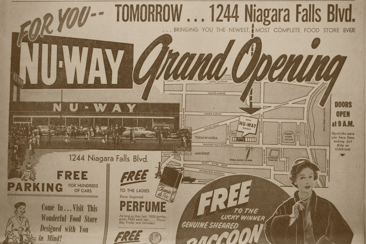 Advertisement for the Nu-Way grand opening on Niagara Falls Boulevard in 1955.
