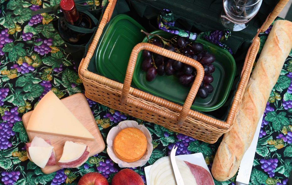 For Helen and Andy Cappuccino, the perfect picnic spread is a good bottle of wine paired with meats and cheeses. (Nancy J. Parisi)
