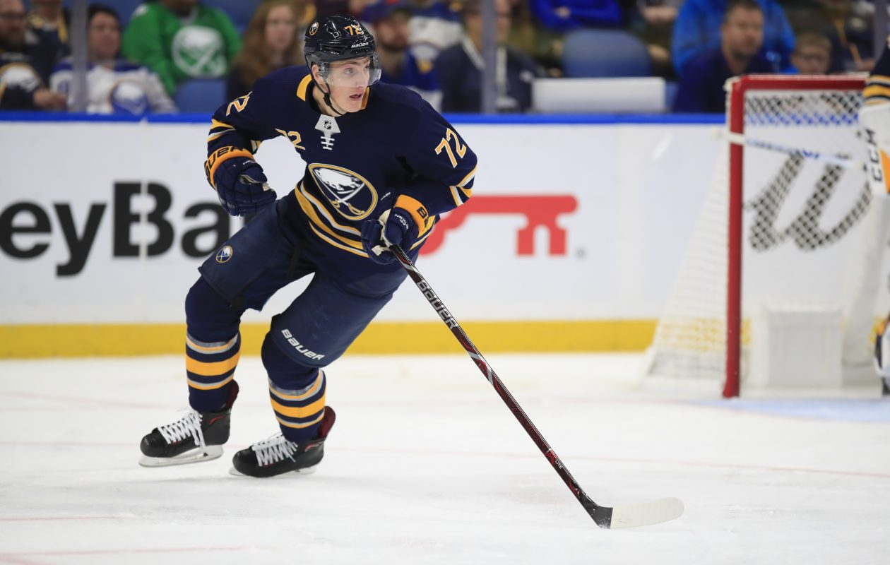 Tage Thompson spoiled the shutout for Toronto, with a shot from near the right-wing boards that cut the deficit to 4-1 with a little over a minute left in the game.  (Harry Scull Jr./ Buffalo News file photo)