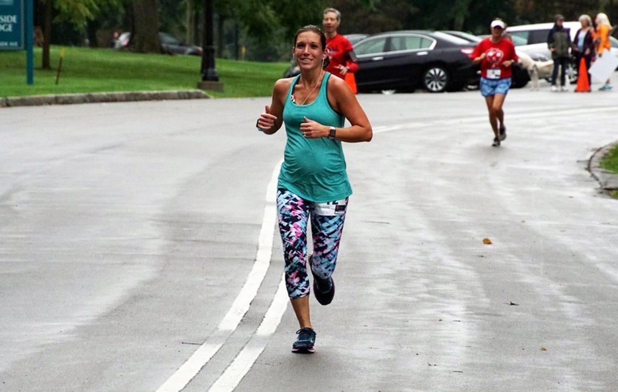 Sherry Adamczyk runs while she was pregnant in Delaware Park. (Photo courtesy of Sarah Anderson)
